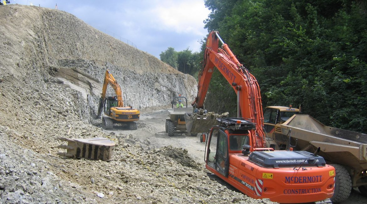 Earthworks at Harley Bank, A458, Much Wenlock, Shropshire